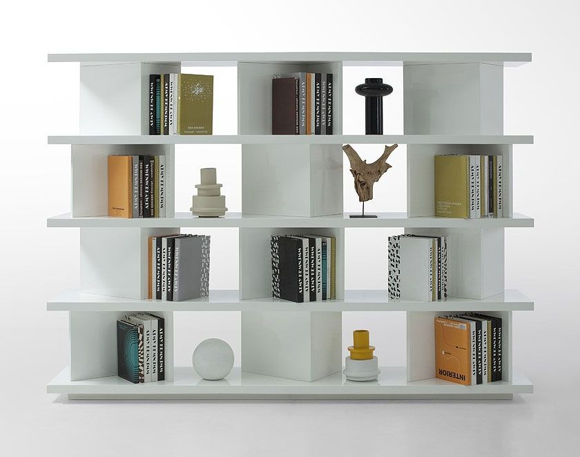 Contemporary Bookcase Living Room Modern Shelves Dividers Vg46 Modern White