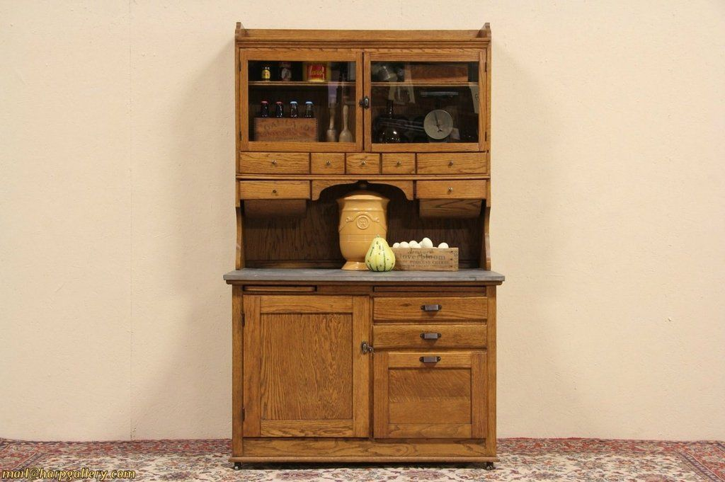 Best Hoosier Oak 1910 Antique Kitchen Baker Cupboard Zinc Top 400 x 300