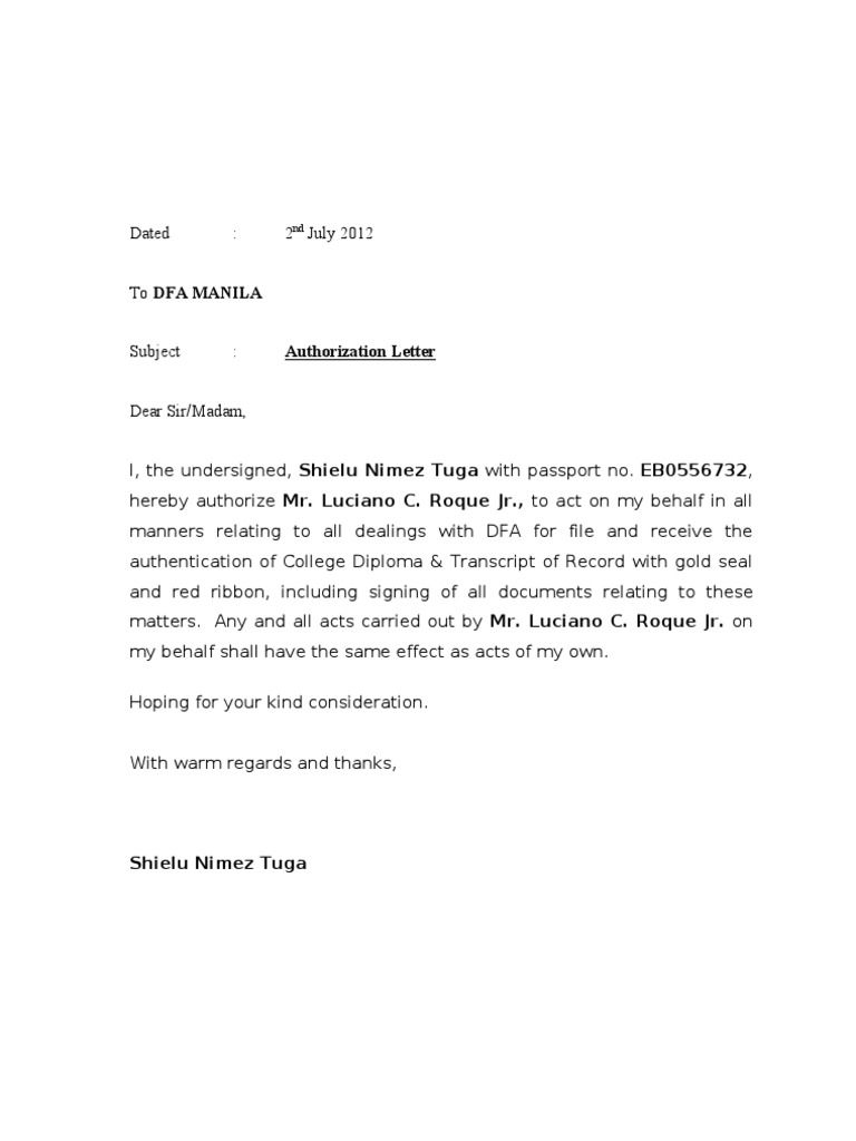 Authorization Letter Dfa Authorisation For Signing
