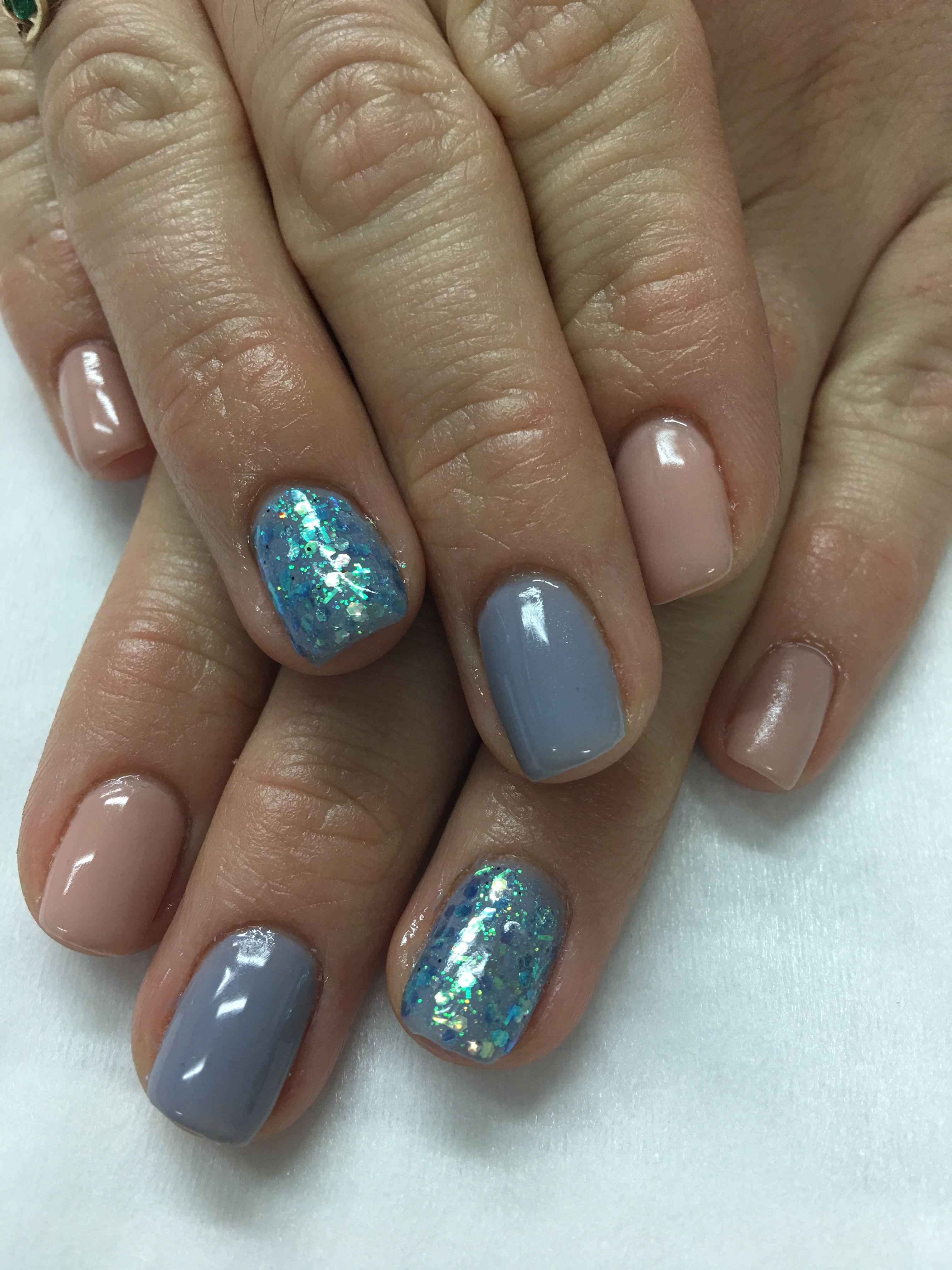 Natural nude customized grey/purple & glitter Gel Nails | Gel Nail ...