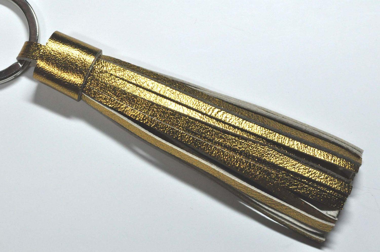 Gold Leather Tassle Keychain - Bag charm - lucky charm - handmade Keychain. $19.80, via Etsy.