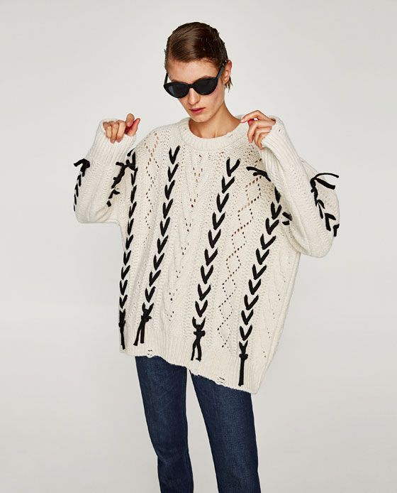 af3e22aaee2 Image 7 of KNIT SWEATER WITH CORDS from Zara