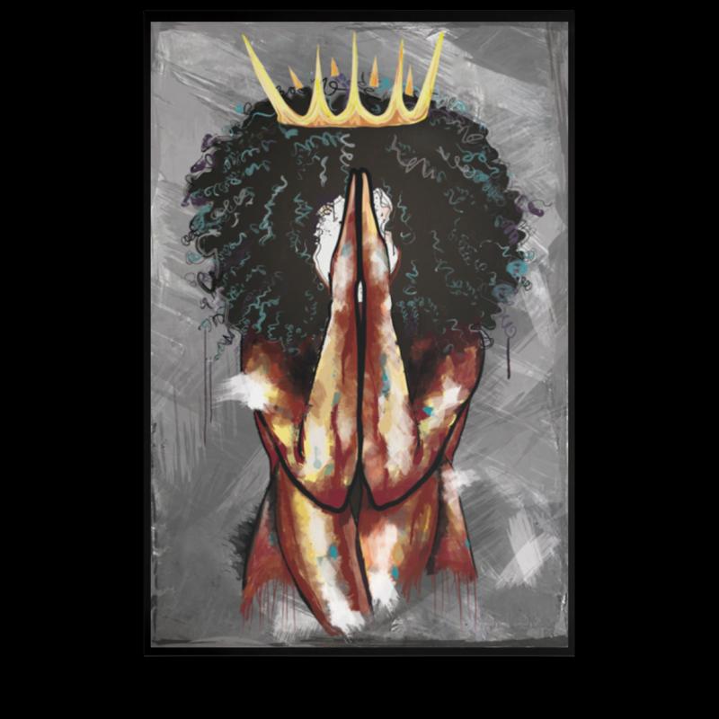 Melanin Queen Praying Poster We Black Store Black Girls With Tattoos Black Art Painting Afro Tattoo
