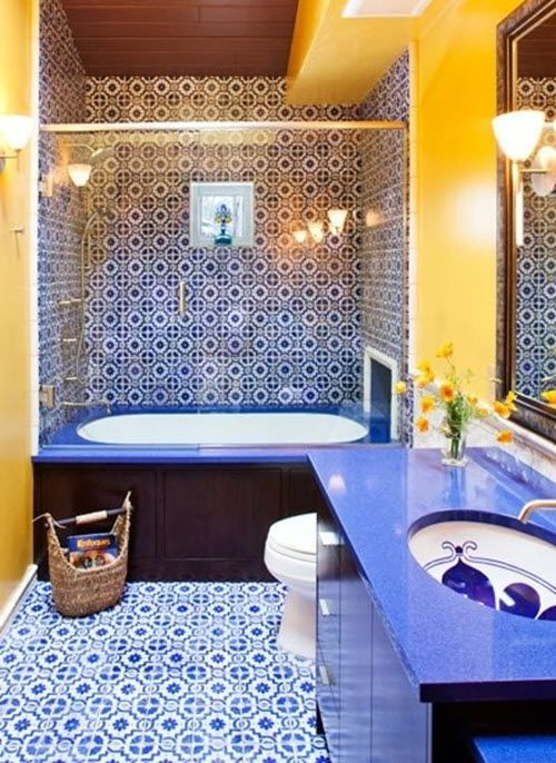 Blue Bathroom Wall Tiles In 2020 With Images Yellow Bathroom