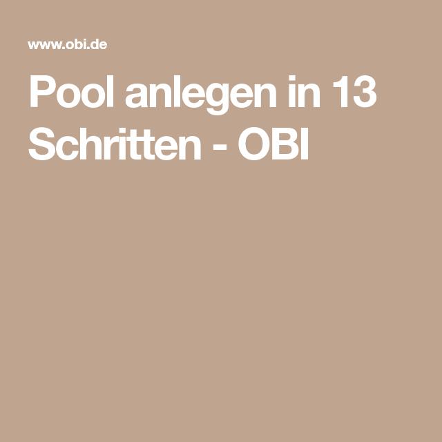 Pool anlegen in 13 Schritten - OBI