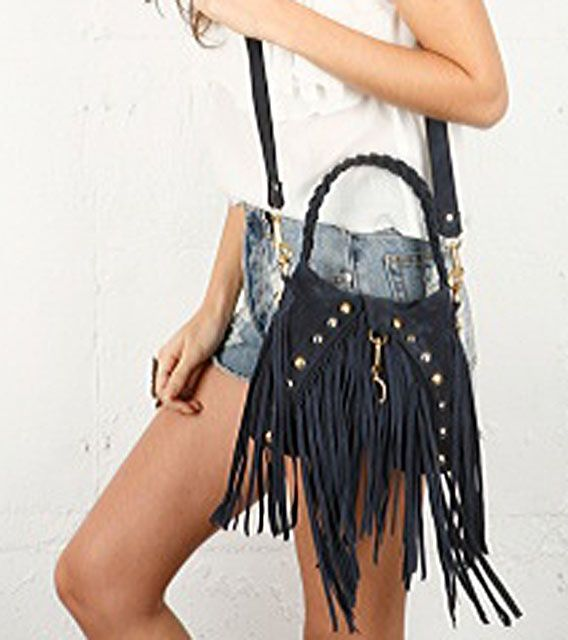 Style 333 Suede Fringe Bag By Jj Winters With Studs