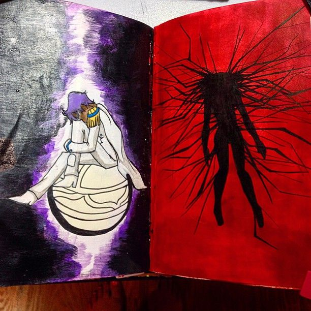 """""""Color outside the lines."""" I decided to add a compliment to this page. Dios and the Rose Bride. #wreckthisjournal #wreckthisjournalideas #wtj #art #artistsofinstagram #igart #utena #revolutionarygirlutena #anthy #rosebride #illustration #drawing"""