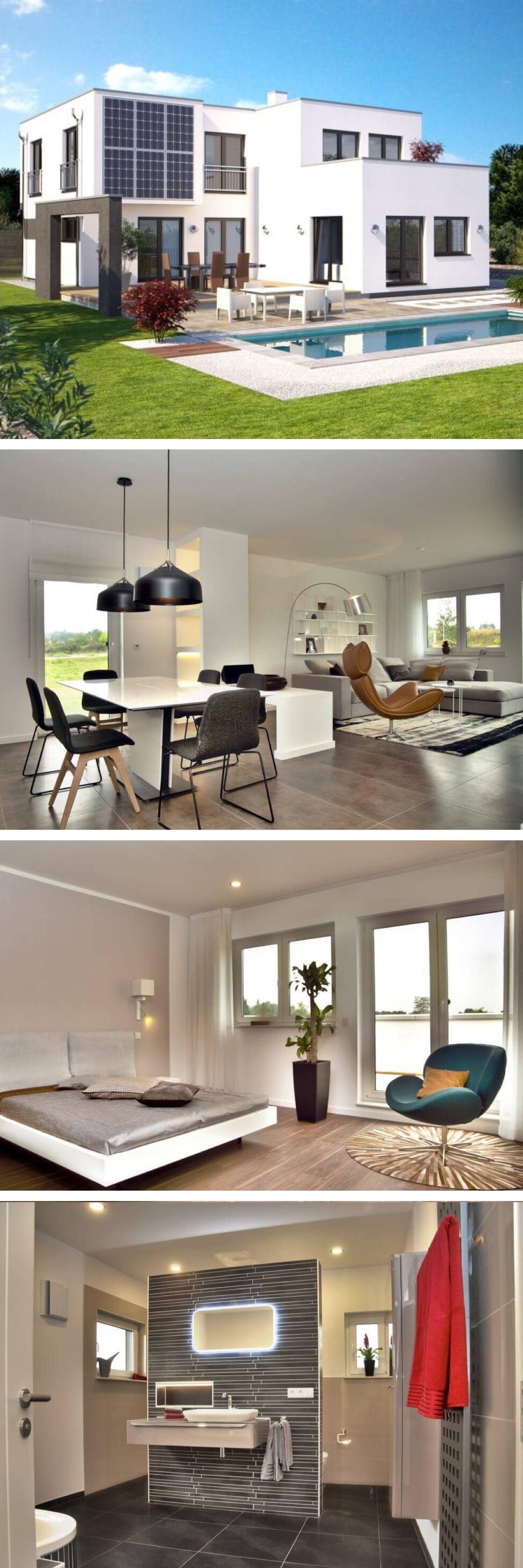 Modernes Design Haus im Bauhausstil mit Flachdach Architektur ...