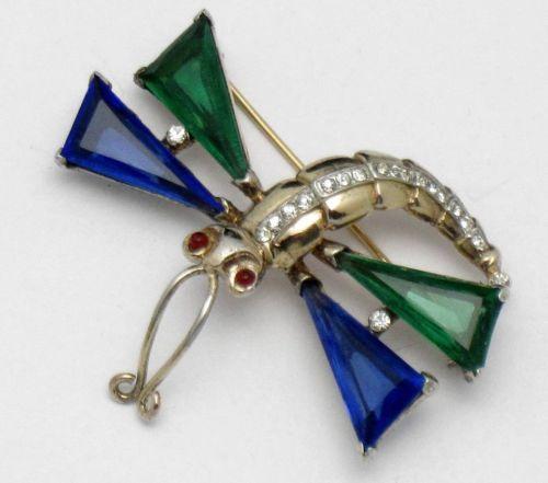 TRIFARI-STERLING-Brooch-Pin-Philippe-1940s-Figural-Glass-Rhinestone-Dragonfly