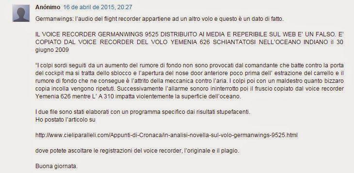 Blog del prof. Attilio Folliero: Nuovi particolari sul volo della Germanwings AU952...