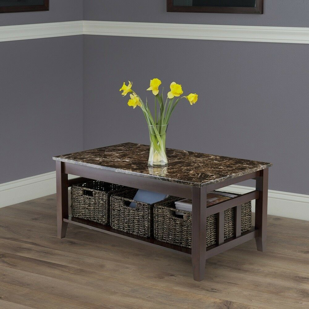 Faux marble coffee table with storage baskets solid wood