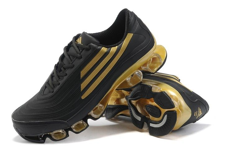 Adidas Bounce Titan Leather Mens Black Golden Running Shoes ...