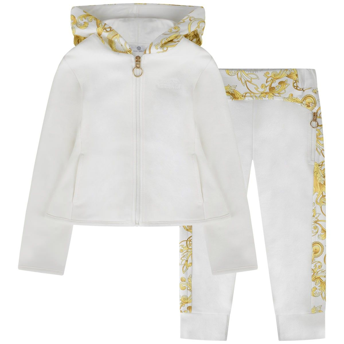 db922da03971 Young Versace girls ivory tracksuit featuring the gold baroque print ...