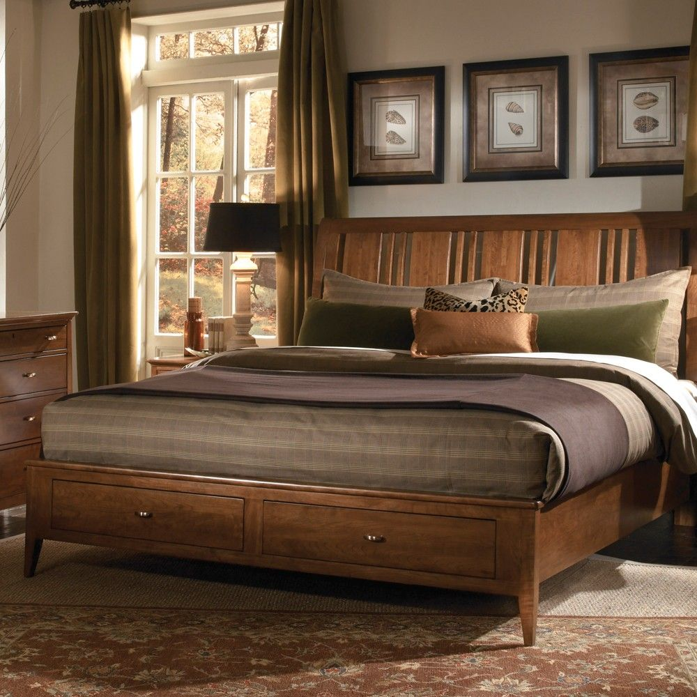 Cherry Park Wood Sleigh Storage Bed in Cherry by Kincaid