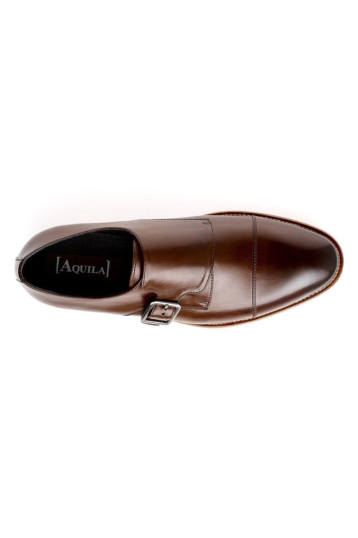 0910100754c Mens Shoes - Aquila Bertrand Brown - Leather Monk Strap Shoe ...