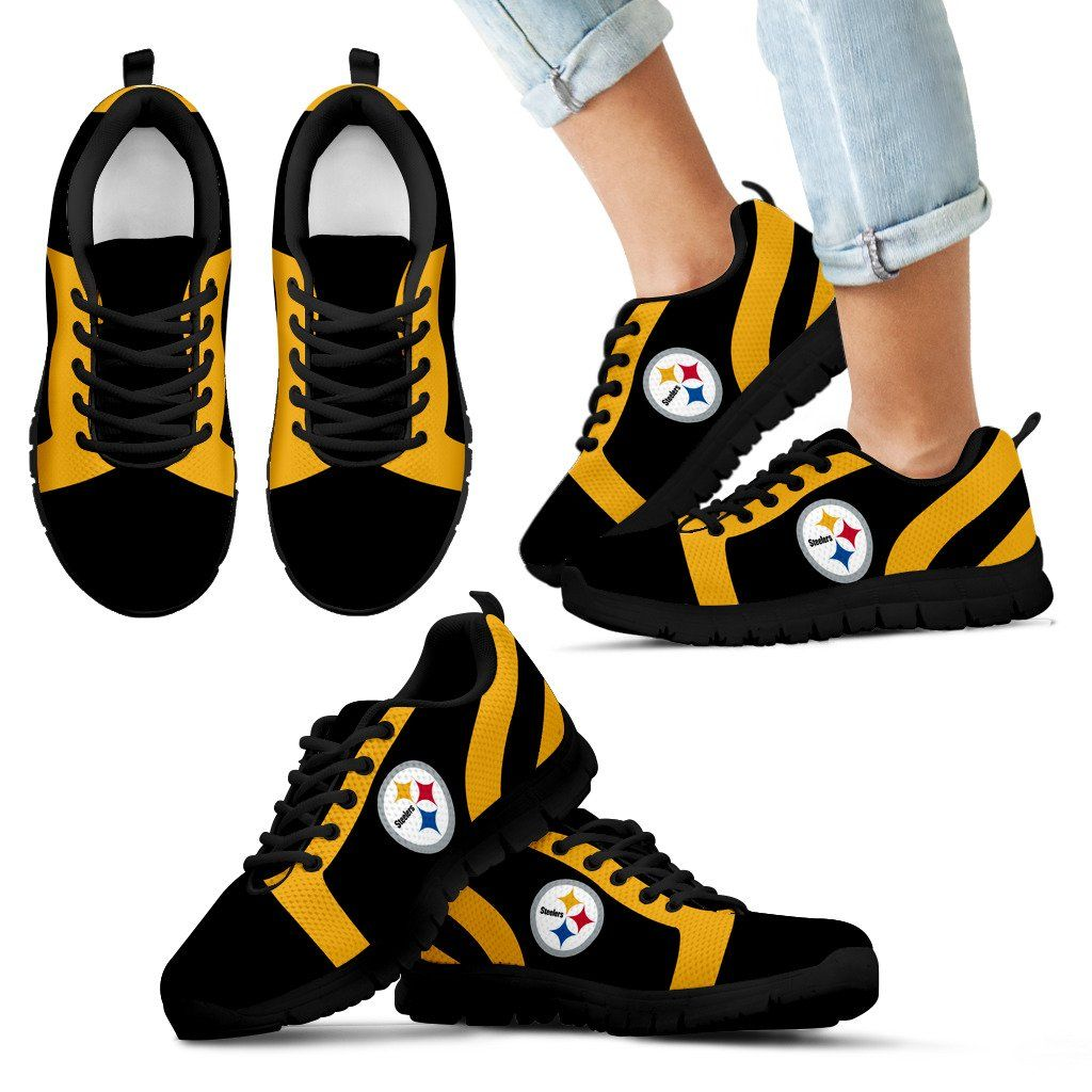 dbe608cd01bc52 ... Line Inclined Classy Pittsburgh Steelers Sneakers ... custom pittsburgh  steelers nike turbo shox team ...