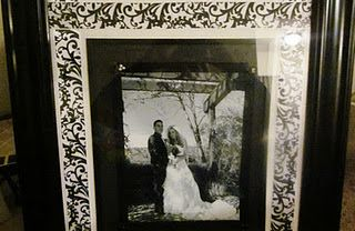 DIY Damask Frame. Took my fav ribbon and print and spunked up my plain blk frame