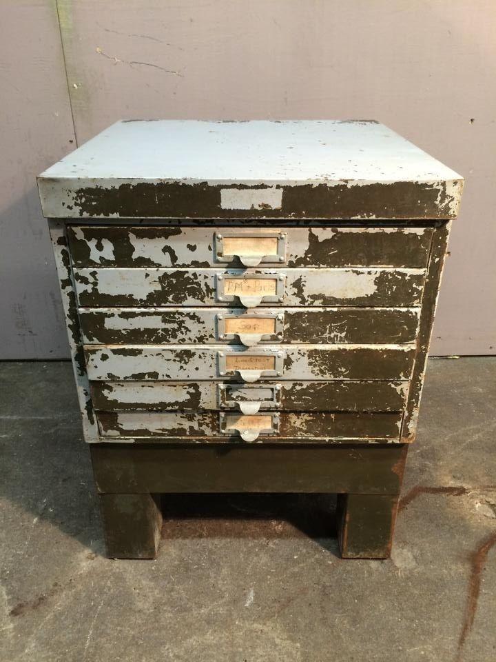 1900-1950 American Vintage Industrial Steel Document Storage Cabinet Green #Industrial