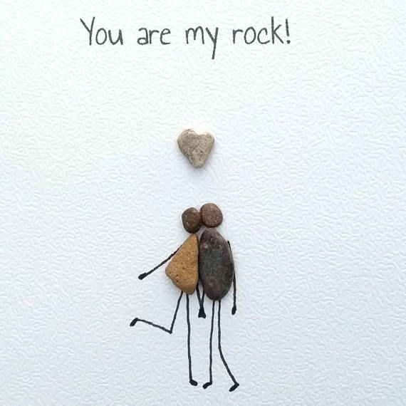 Birthday card, husband card, anniversary card, Pebble card, pebble art, quirky card, unusual card, personalised, unique 'you are my rock'
