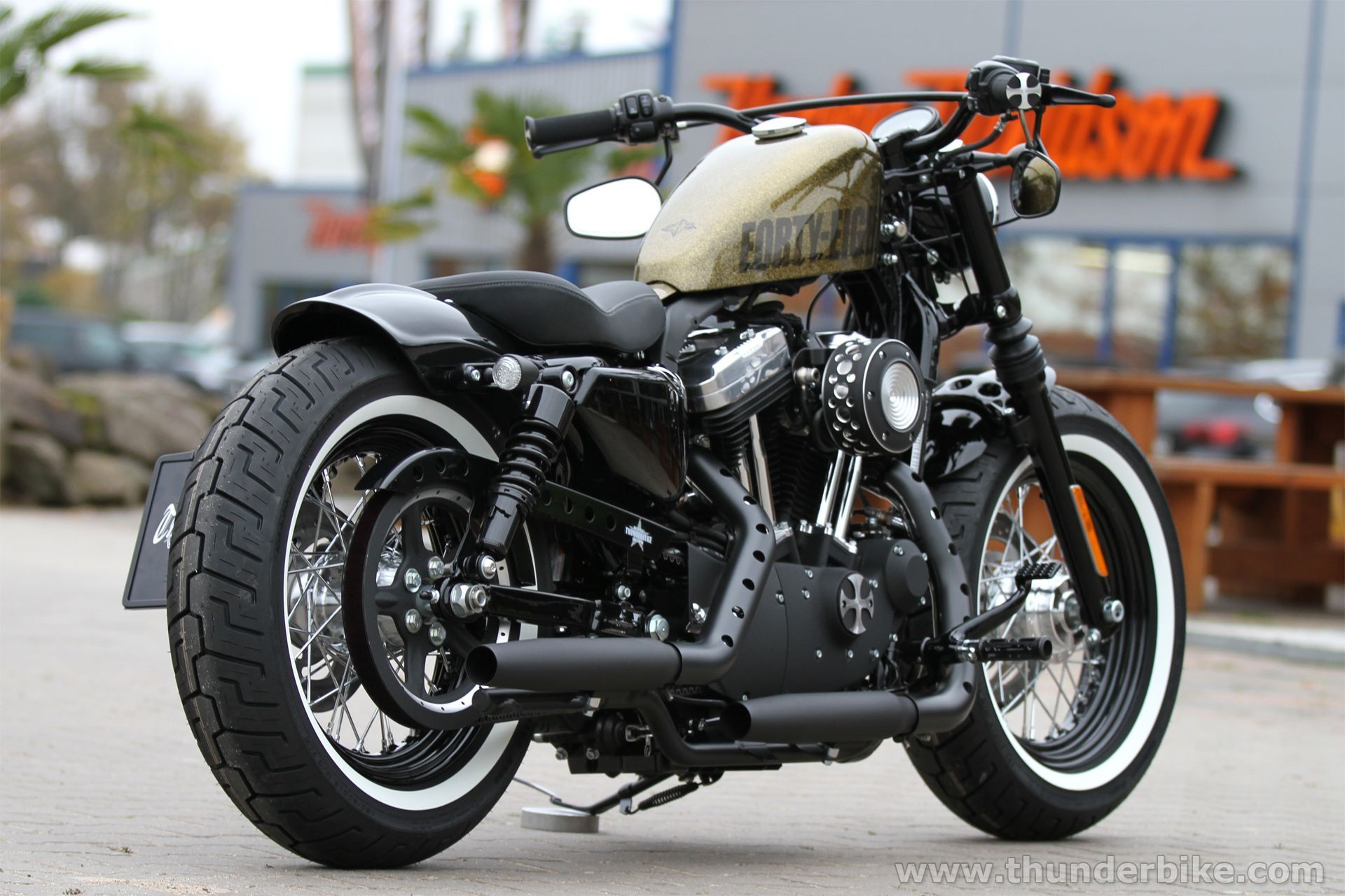 This Harley Davidson Sportster Forty Eight Is Equipped With Our Rear Fender Wiring Harness Latest Xl Parts Like New Fueltank Relocation Grand Classic Filter Kit And Many