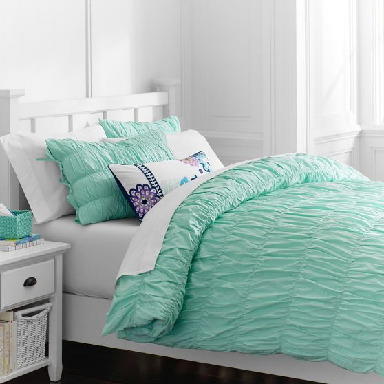Ruched Duvet Cover Sham Pbteen Dorm Room Bedding