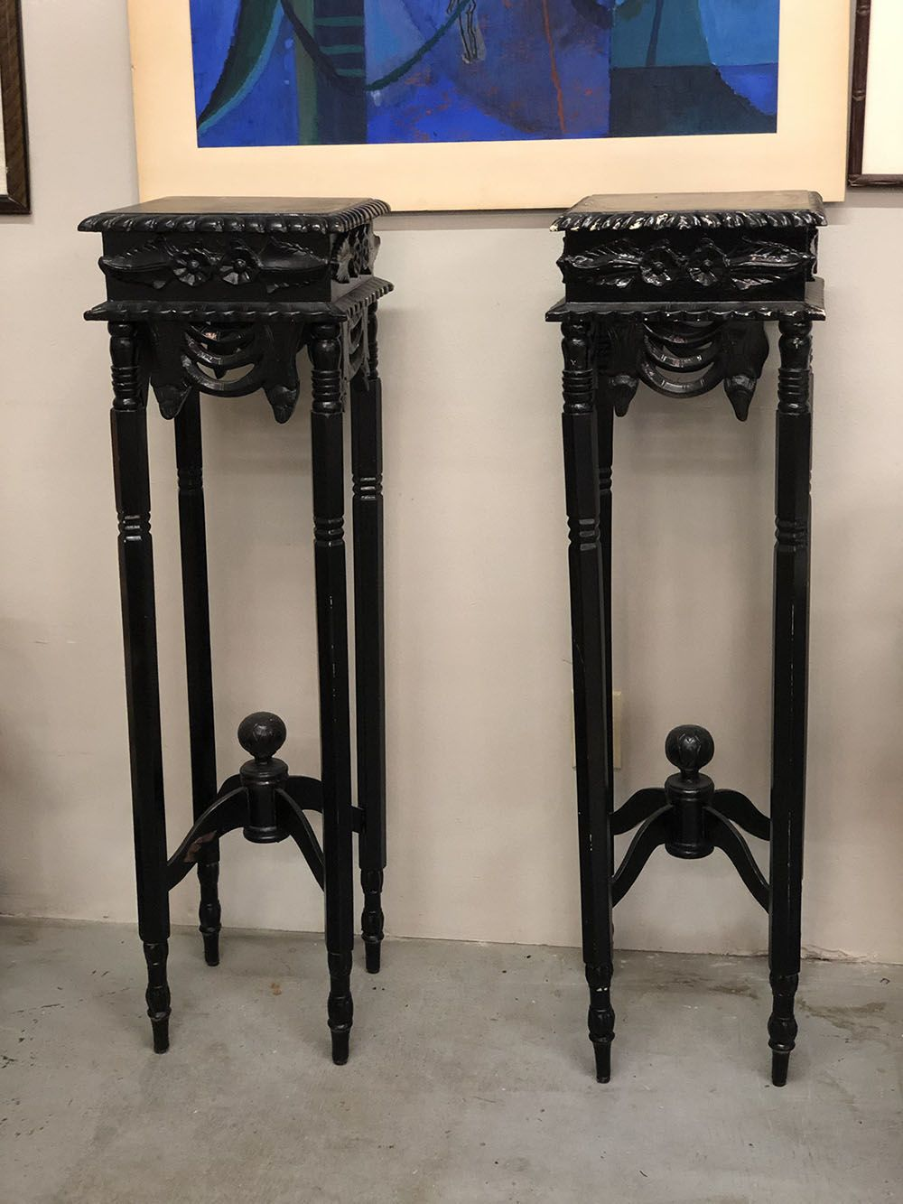 Pair Black Pedestal Style Plant Stands 12 Square X 42 High Country Garden Antiques 147 Parkhouse Dallas Tx 7 Antique Table High Country Gardens Antiques