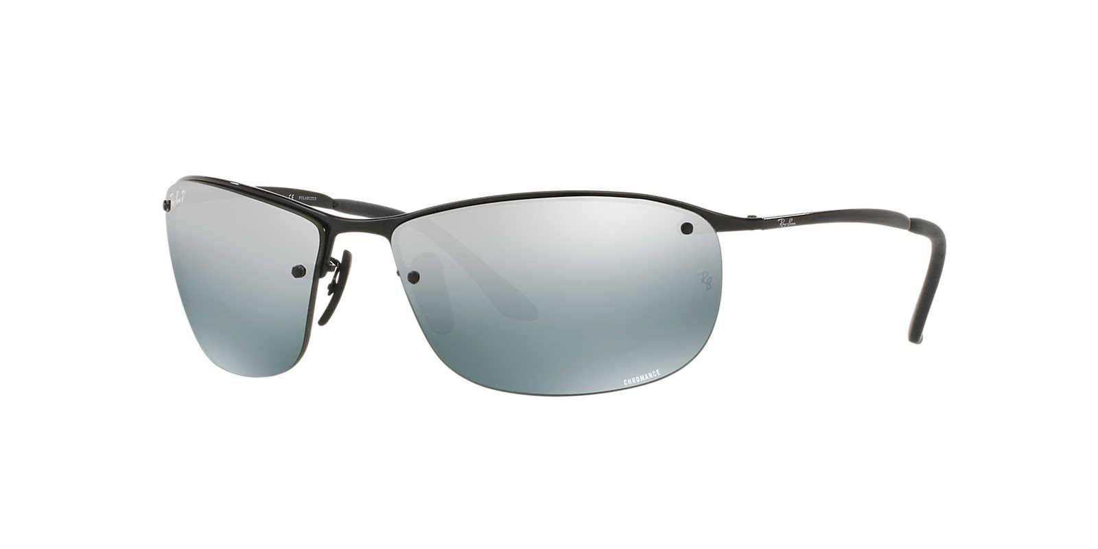 25f53ed83a RayBan RB3542 Chromance Lens Wrap Sunglasses Black Frame Grey Mirror Lens  002 5L