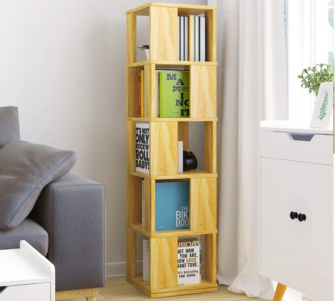 Wishom 5 Tier Rotatable Bookcase Modern Wood Bookshelf Floor