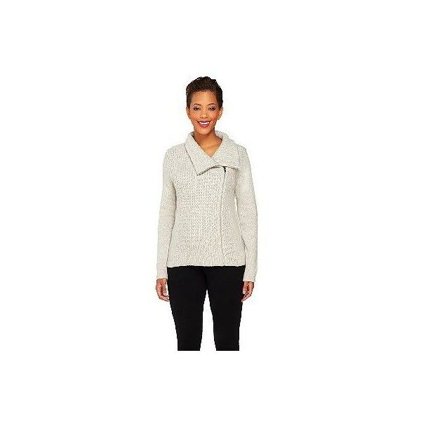 Isaac Mizrahi Live! 2-Ply Cashmere Motorcycle Sweater Jacket ($268) ❤ liked on Polyvore