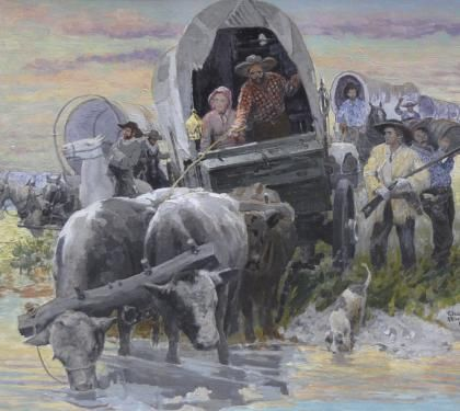 A Colorful Illustration Of A Wagon Train Of Pioneers Crossing A