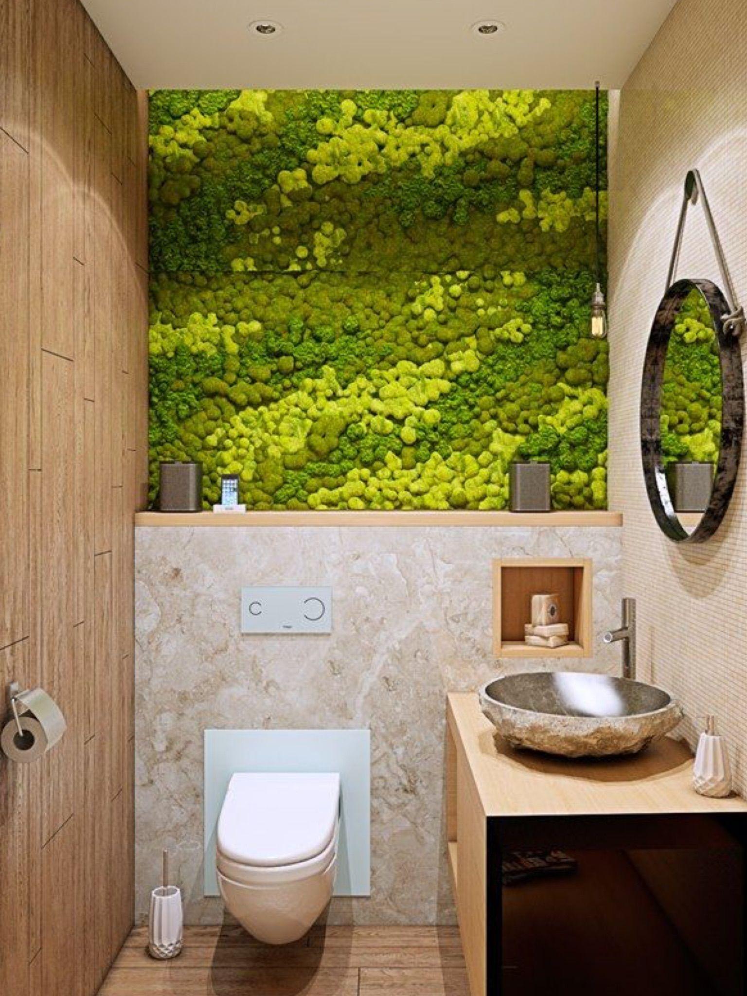 Pin By Masha Verhoogt On Green Wall Small Bathroom Remodel Designs Bathroom Remodel Designs Moss Wall Art