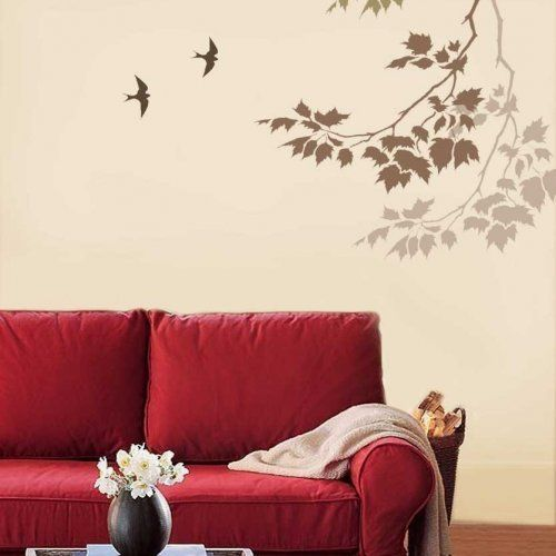 Wall Stencil Sycamore Reaching Branch - Stencils for easy fast wallpaper