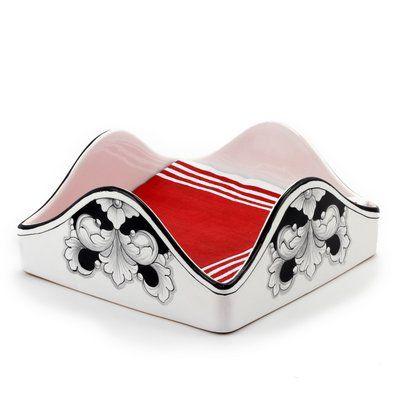 DERUTA - 'VARIO, NERO' Collection - Square Dinner Napkins Holder, 8x8 | Artistica Italian Ceramics