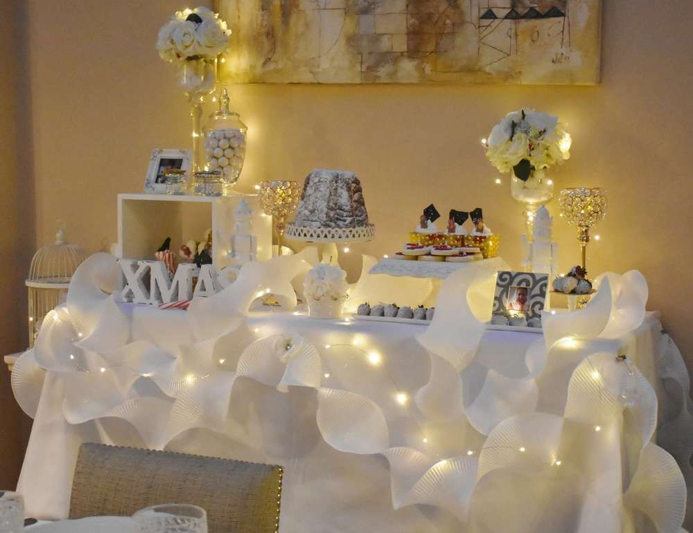 Superior White Christmas Party Ideas Part - 7: Check Out The Spectacular Dessert Table At This White Christmas Party! See  More Party Ideas