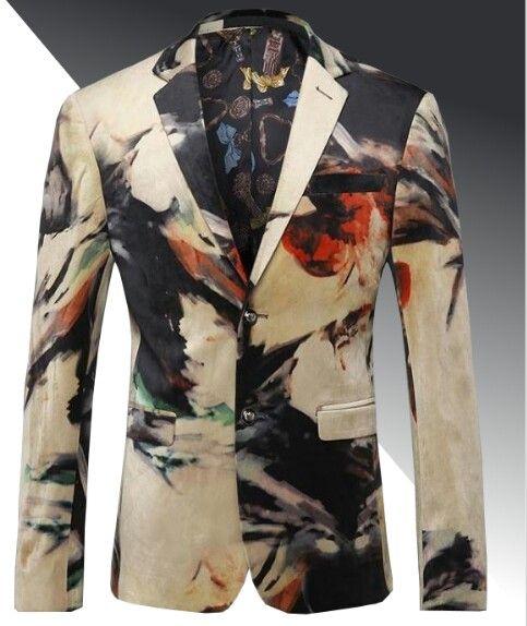 61f2a0bd0e5 BEIGE BLACK ATTRACTIVE MENS MARBLE ART MODERN VELVET BLAZER Color -  Beige Black Pattern - Marble Material - Velvet