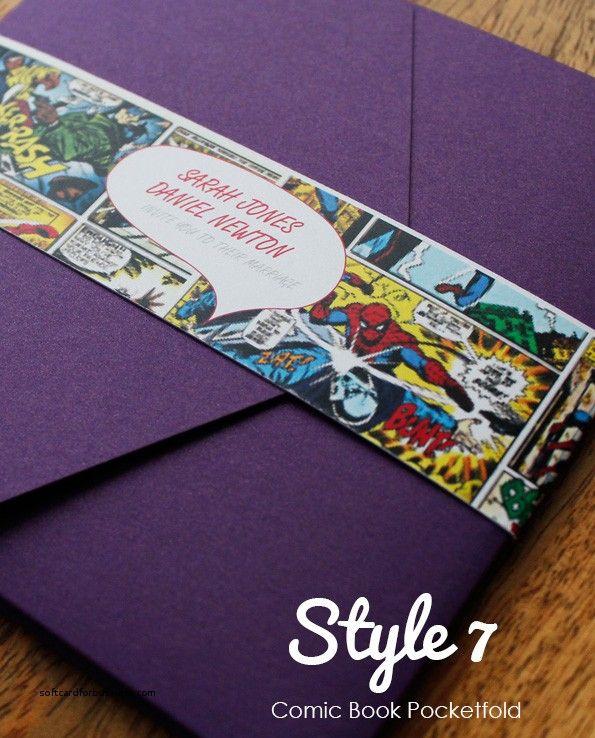 Comic Book Themed Wedding Invitations Awesome Style 7 Ic Pocketfold Invitation