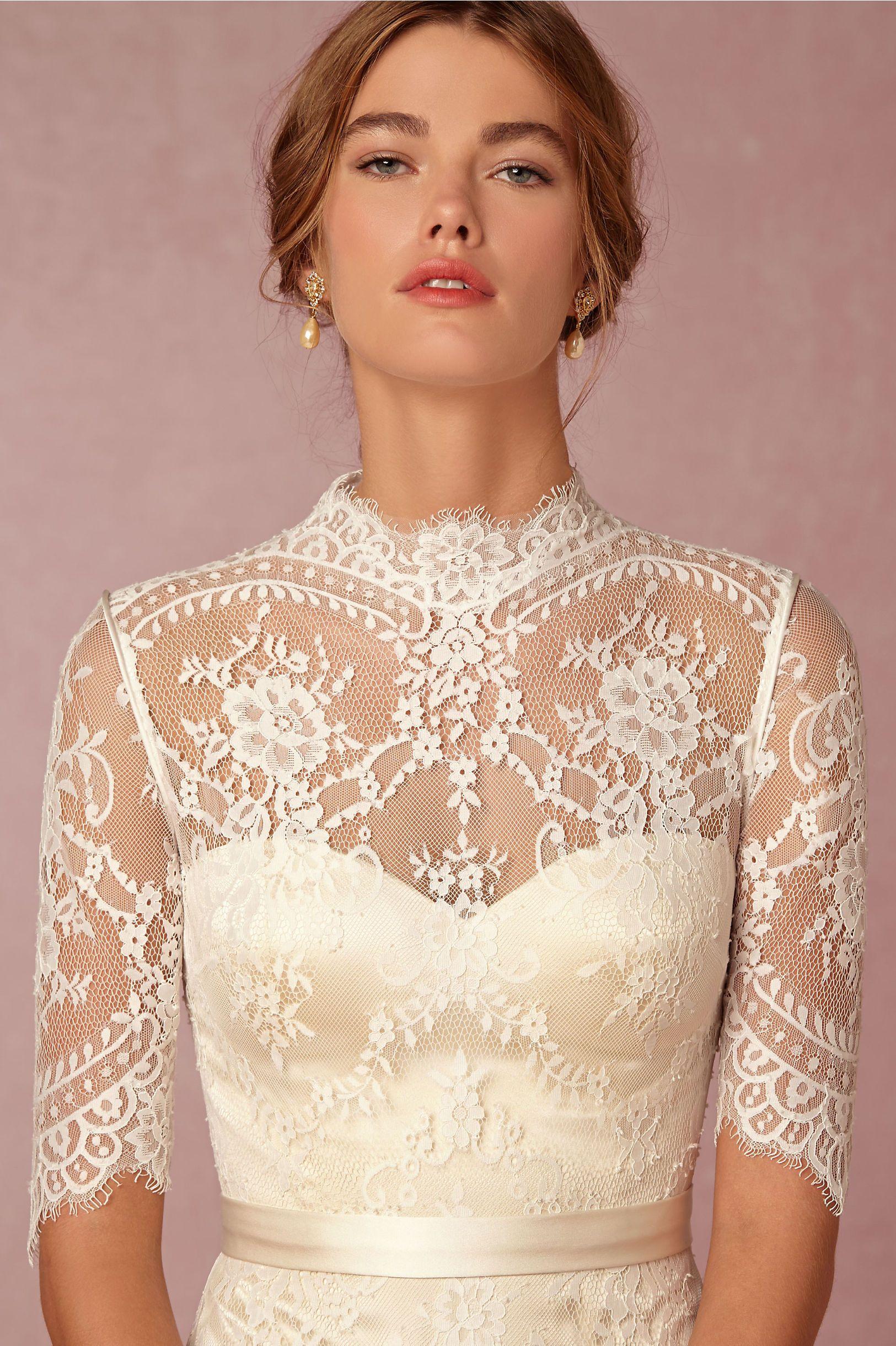 Bridgette Gown Lace Wedding Dress Vintage Half Sleeve Wedding Dress Victorian Wedding Dress