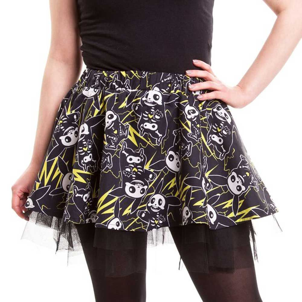 Cupcake Cult. A black mini skirt with skeleton rabbit and thunder all over print. The skirt has a elastic waist and tulle on the bottom.
