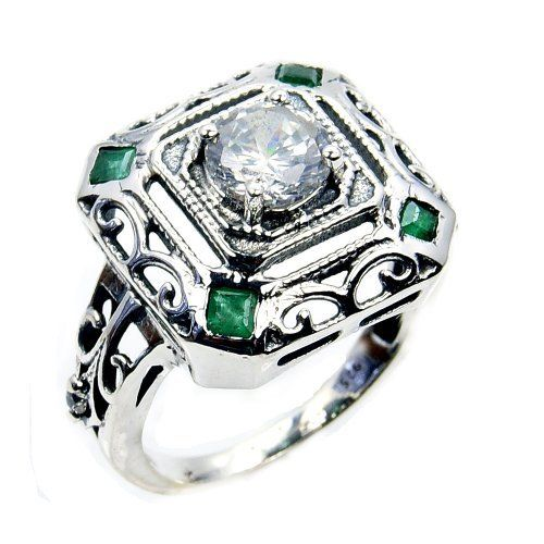 'Royal Sparkle' Sterling Silver White Topaz, Emerald Ring, Size 5  Price : $59.95 http://www.silverplazajewelry.com/Royal-Sparkle-Sterling-Silver-Emerald/dp/B00JWQZ2ZG
