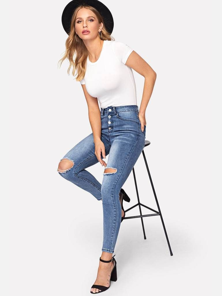 f3720681947 Top Button Ripped Jeans in 2019