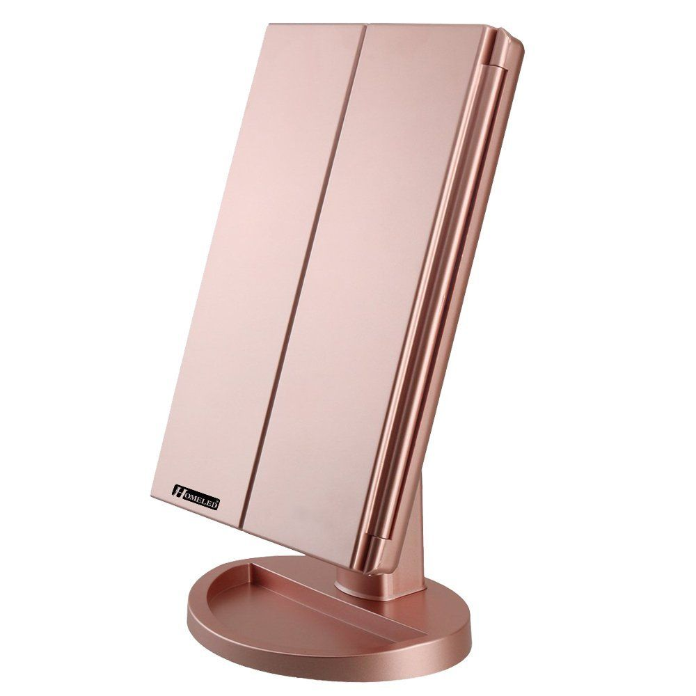 Homeled Tri Fold Led Vanity Travel Mirror Stand With 21 Pcs Lights / 1X/