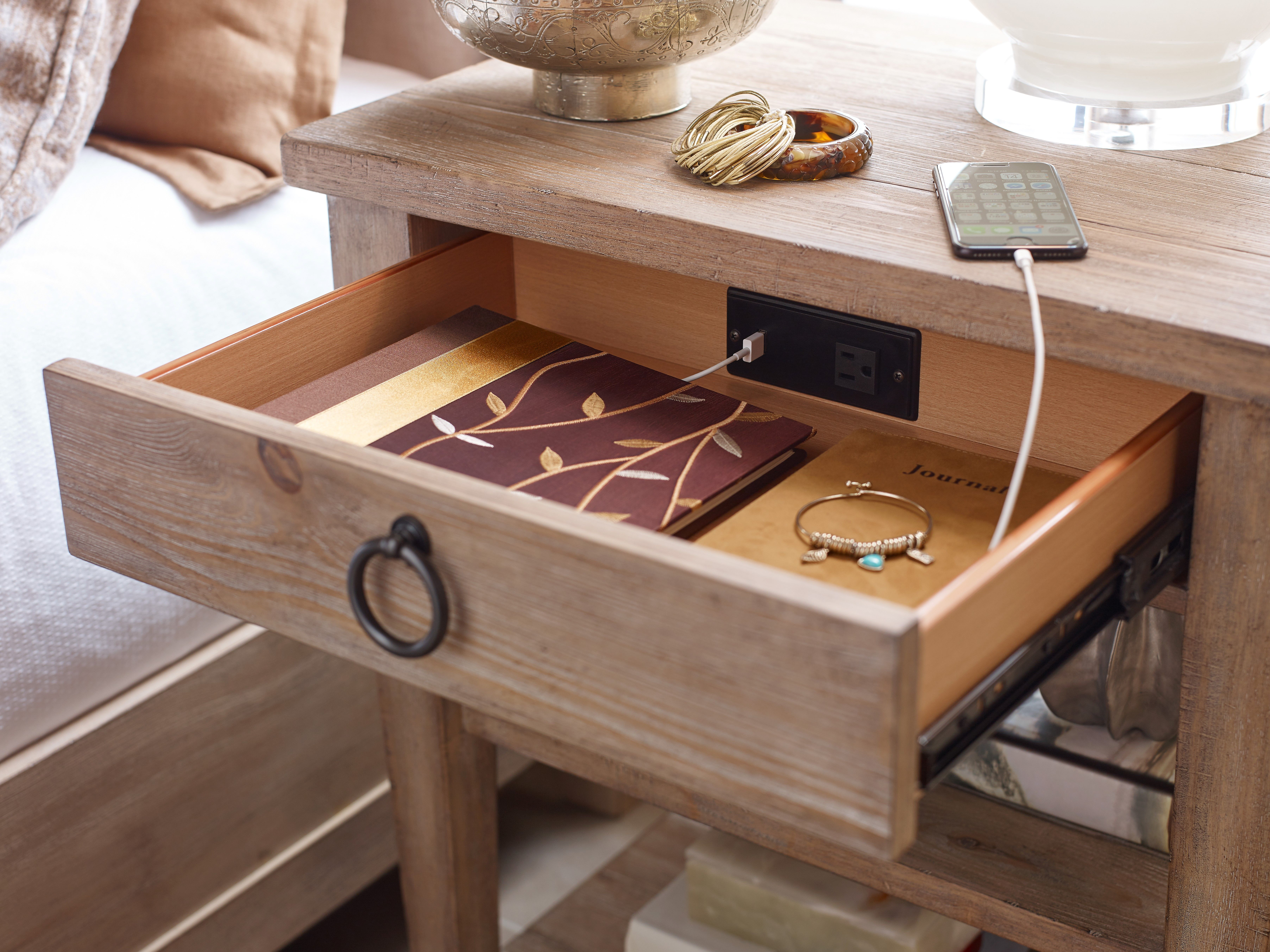 Both Monteverdi Nightstand Styles Feature A Built In Outlet With