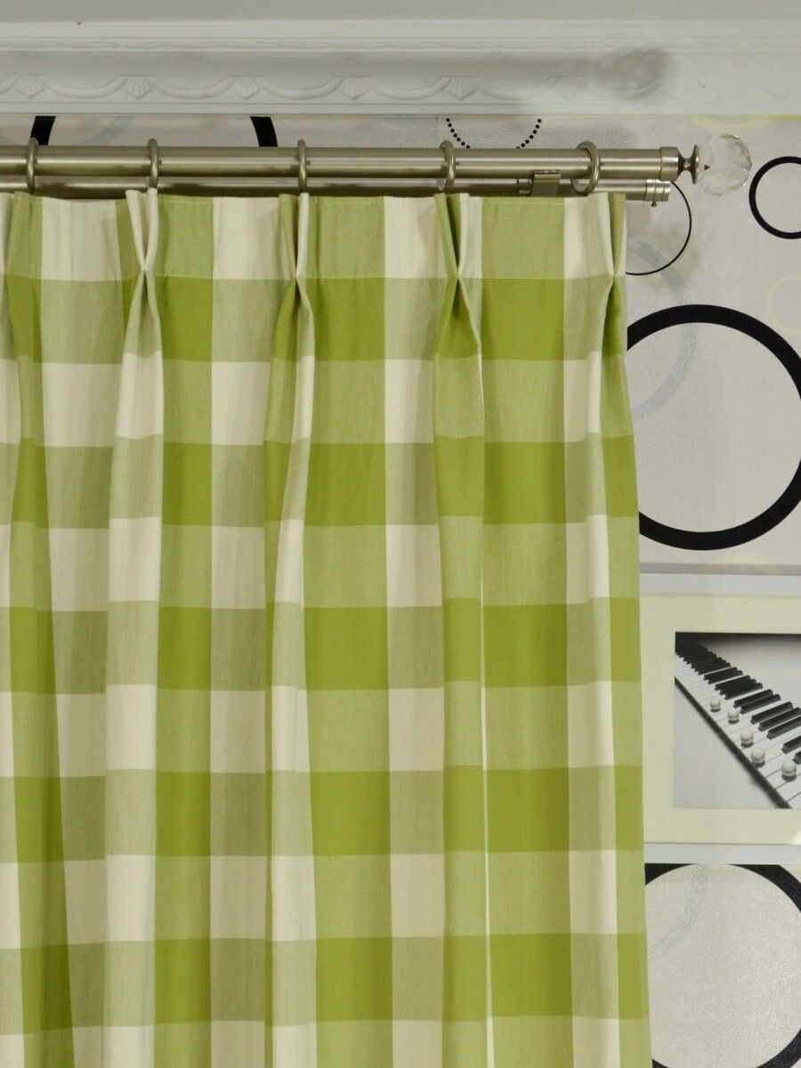 Ready Made Curtains 108 Drop Moonbay Checks Double Pinch Pleat Cotton Extra Long Curtain 108