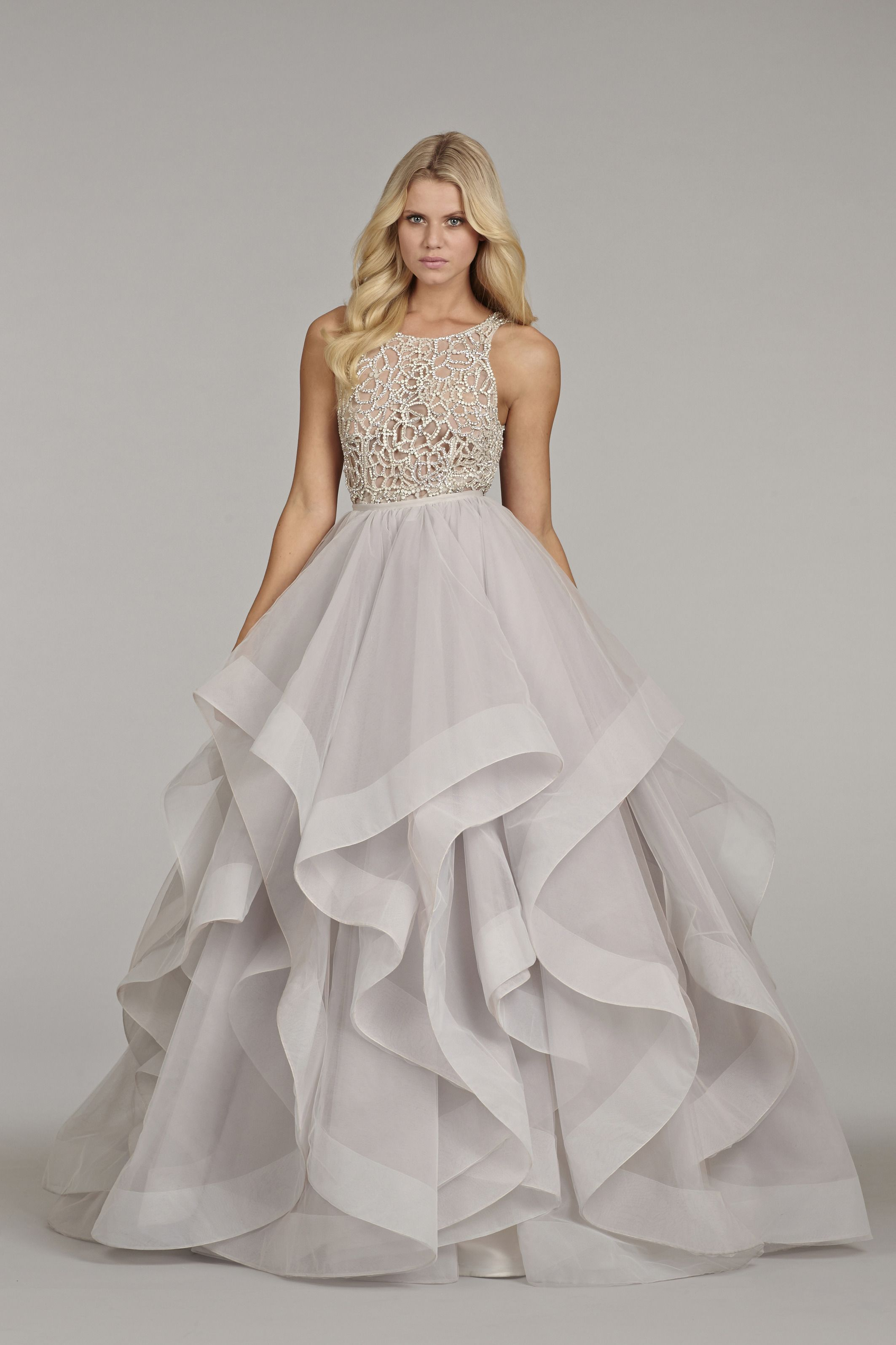 Alabaster Tulle Bridal Gown With Halter High Neck And Crystal Bodice Full Horse Hair Flounced Skirt Chapel Train