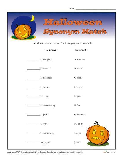 Halloween Worksheet Activity Synonym Match Halloween Worksheet Halloween Worksheets Halloween Words Halloween worksheets pic word matching