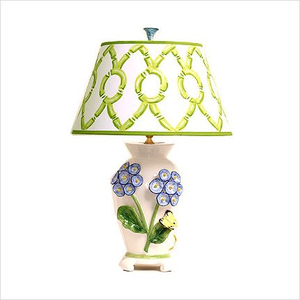 Dana Gibson Large Blue Primula Lamp With Yellow Butterfly. Dorothy Draper  Handpainted Paper Shade.