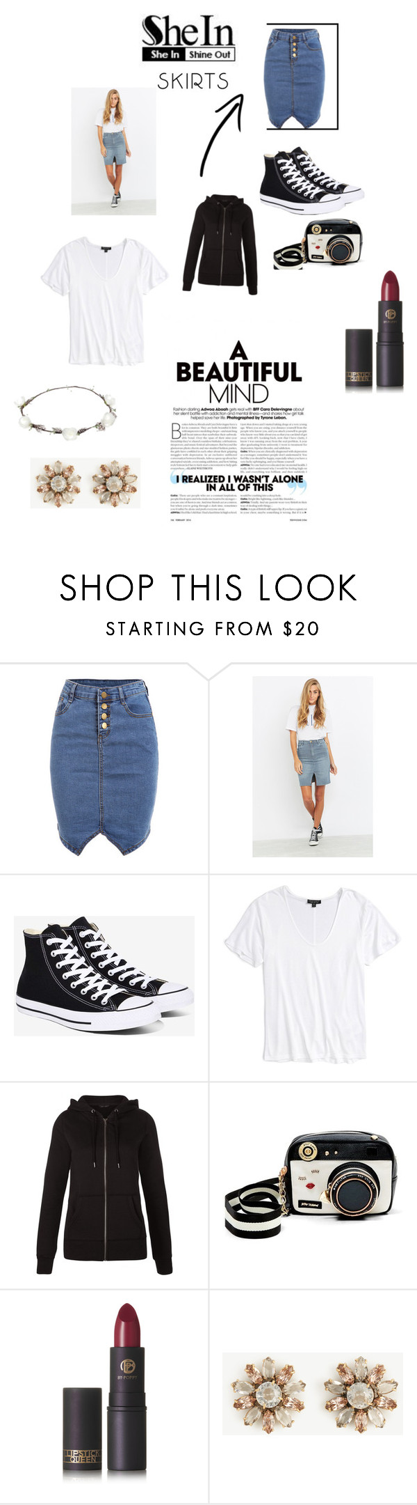 """""""Untitled #234"""" by hollicakes ❤ liked on Polyvore featuring Rolla's, Converse, Topshop, New Look, Betsey Johnson, Lipstick Queen, Ann Taylor and Lipsy"""