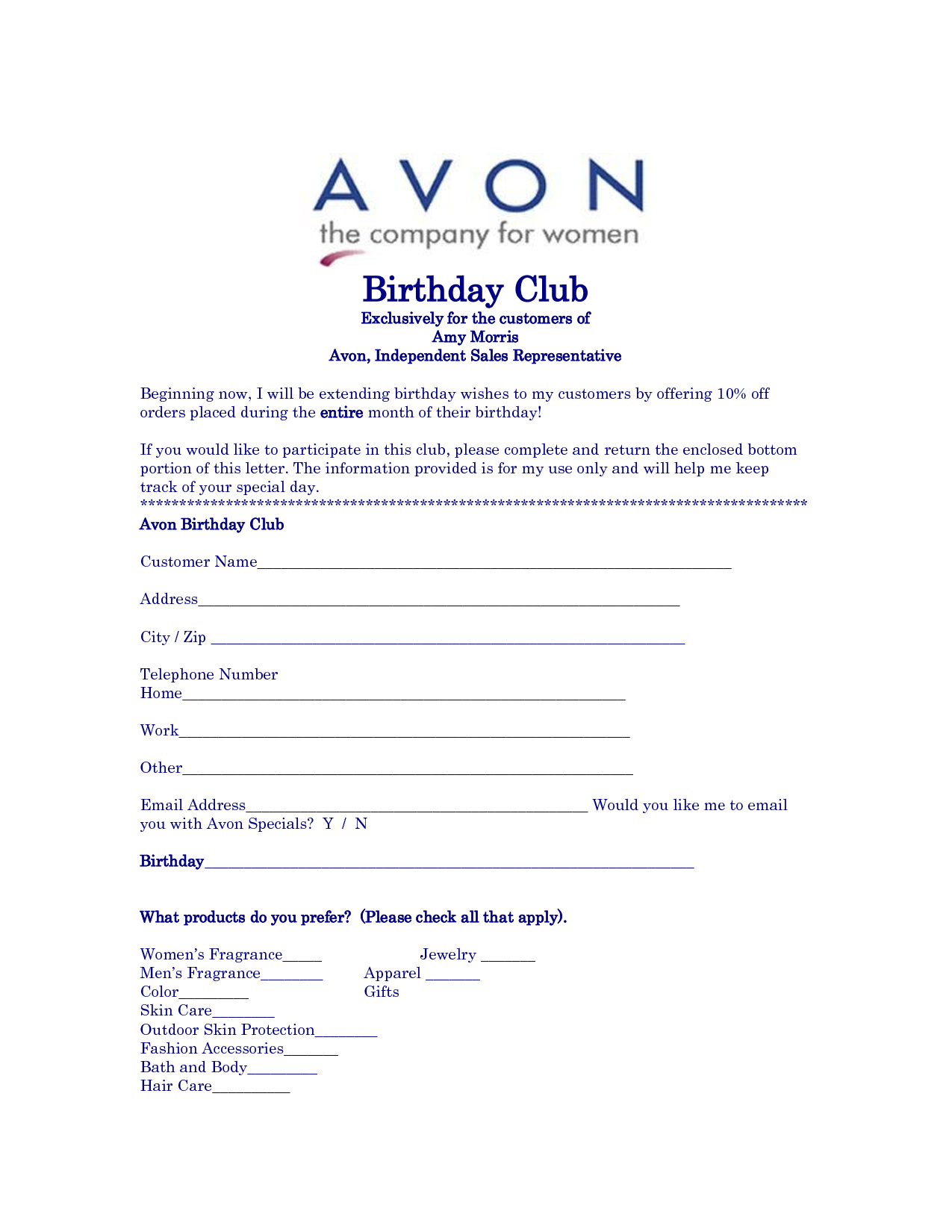 Avon Birthday Club  Avon    Birthday Club And Avon
