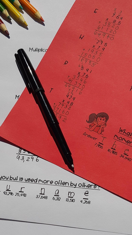 Self Marking Multiplication Math Riddles In