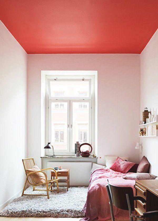 de lorange presque rouge au plafond pour agrandir une pice - Comment Peindre Une Chambre Pour L Agrandir